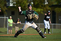Plymouth State Panthers catcher Dan Armstrong (10) during the first game of a doubleheader against the Edgewood Eagles on March 17, 2015 at Terry Park in Fort Myers, Florida.  Edgewood defeated Plymouth State 12-3.  (Mike Janes/Four Seam Images)