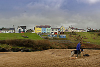 WORDS BY JANE FRYER, DAILY MAIL<br /> Pictured: A dog walker on the beach in Aberporth, west Wales, UK. Thursday 21 December 2017<br /> Re: The Welsh coastal village of Aberporth has launched a crusade against single-use plastic products.<br /> The village's general store is selling milk in glass bottles and a pub has replaced plastic drinking straws with paper ones.<br /> Residents launched Plastic-free Aberporth as the UK government's Environment Secretary, Michael Gove, issued his four-point plan for tackling plastic waste.