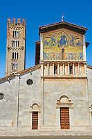 Facade with Byzantine Mosaic panel depicting Christ Pantocrator of the Basilica of San Frediano, a Romanesque church, Lucca, Tunscany, Italy