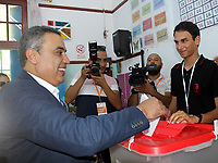 Mehdi Jomaa, a candidate for Tunisia's presidential elections, smiles after casting his ballot at a polling station in the capital Tunis on September 15, 2019. - Rarely has the outcome of an election been so uncertain in Tunisia, the cradle and partial success story of the Arab Spring, as some seven million voters head to the polls today to choose from a crowded field.<br /> <br /> PHOTO : Agence Quebec Presse -  JDIDI_WASSIM