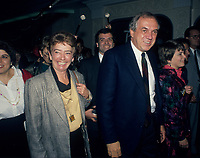 Montreal (Qc) Canada  file Photo - 1988 -- Ed Broadbent, New Democratic Party  (NPD) Leader and his wife Lucille<br /> <br /> <br /> PHOTO :  Agence Quebec Presse