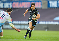 24th April 2021; Liberty Stadium, Swansea, Glamorgan, Wales; Rainbow Cup Rugby, Ospreys versus Cardiff Blues; Josh Thomas of Ospreys evades the attempted tackle by James Ratti of Cardiff Blues
