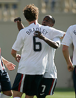 Michael Bradley celebrates with DaMarcus Beasley after Beasley converted a PK. The USA defeated China, 4-1, in an international friendly at Spartan Stadium, San Jose, CA on June 2, 2007.