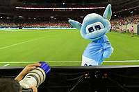 Houston, TX - Thursday July 20, 2017: The Manchester City Mascot poses for a photo during a match between Manchester United and Manchester City in the 2017 International Champions Cup at NRG Stadium.