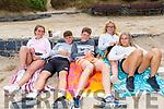 Robyn Cronin, Oisin McNamara, Adrian McCarthy, Jodie Costello and Abby Franklin enjoying the day on Ballybunion beach on Monday.