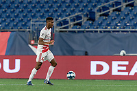 FOXBOROUGH, MA - AUGUST 21: Ivan Magalhaes #4 of Richmond Kickers looks to pass during a game between Richmond Kickers and New England Revolution II at Gillette Stadium on August 21, 2020 in Foxborough, Massachusetts.