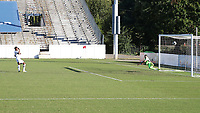 RICHMOND, VA - SEPTEMBER 30: Dre Fortune #8 of North Carolina FC scores a penalty kick goal past Luca Lewis #50 of New York Red Bulls II during a game between North Carolina FC and New York Red Bulls II at City Stadium on September 30, 2020 in Richmond, Virginia.