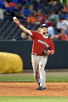 Oklahoma City RedHawks third baseman Jonathan Meyer (23) throws to first during a game against the Memphis Redbirds on May 23, 2014 at AutoZone Park in Memphis, Tennessee.  Oklahoma City defeated Memphis 12-10.  (Mike Janes/Four Seam Images)