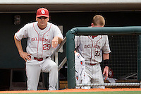 Coach Sunny Galloway of the Oklahoma Sooners in the game against the Texas Longhorns in NCAA Big XII baseball on May 1, 2011 at Disch Falk Field in Austin, Texas. (Photo by Andrew Woolley / Four Seam Images)