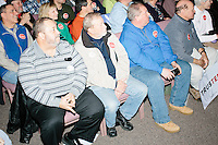 People listen as Texas senator and Republican presidential candidate Ted Cruz speaks at a town hall at Crossing Life Church in Windham, New Hampshire, on Tues. Feb. 2, 2016. The day before, Cruz won the Iowa caucus.