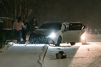NEW YORK, NEW YORK - JANUARY 31: People had an accident on their car during the pass of the snowstorm on January 31, 2021 in Weehawken, New Jersey. New York City Mayor Bill de Blasio declared a state of emergency order due to the arriving storm that's expected to wallop New York, where airports are expected to cancel the majority if their flights. (Photo by Eduardo MunozAlvarez/VIEWpress)