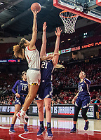 COLLEGE PARK, MD - JANUARY 26: Shakira Austin #1 of Maryland shoots over Abbie Wolf #21 of Northwestern during a game between Northwestern and Maryland at Xfinity Center on January 26, 2020 in College Park, Maryland.