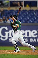 Lynchburg Hillcats shortstop Yu-Cheng Chang (6) hits a home run during a game against the Wilmington Blue Rocks on June 3, 2016 at Judy Johnson Field at Daniel S. Frawley Stadium in Wilmington, Delaware.  Lynchburg defeated Wilmington 16-11 in ten innings.  (Mike Janes/Four Seam Images)