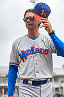 Midland RockHounds manager Scott Steinmann (33) during a Texas League game against the Frisco RoughRiders on May 22, 2019 at Dr Pepper Ballpark in Frisco, Texas.  (Mike Augustin/Four Seam Images)