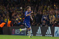 Oscar of Chelsea celebrates scoring his goal during the UEFA Champions League match between Chelsea and Maccabi Tel Aviv at Stamford Bridge, London, England on 16 September 2015. Photo by Andy Rowland.