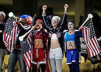 USA fans. Ghana defeated the USA 2-1 in overtime in the 2010 FIFA World Cup at Royal Bafokeng Stadium in Rustenburg, South Africa on June 26, 2010.