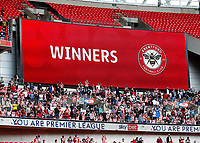 29th May 2021; Wembley Stadium, London, England; English Football League Championship Football, Playoff Final, Brentford FC versus Swansea City; Winners displayed on the giant score board