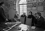 The annual meeting of the Company of Marblers and Stonecutters of the Isle of Purbeck. Corfe Castle, Dorset, England 1975. Shrove Tuesday annual meeting prior to kicking of a football from the village to Owre Quay three miles away, in order to preserve the old right of way along which the quarried stone was transported.