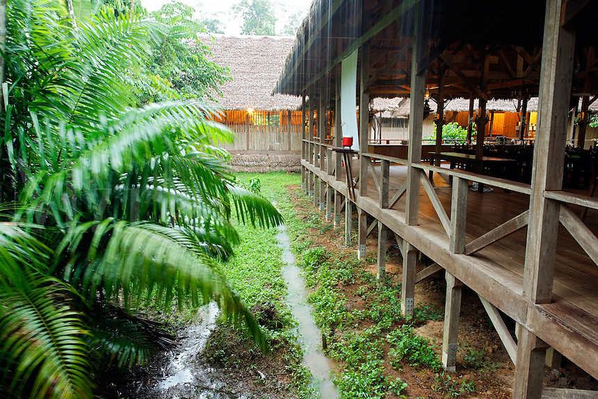 Refugio Amazonas jungle lodge in heavy rain, Tambopata River, Peru