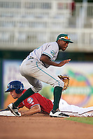Daytona Tortugas shortstop Carlton Daal (4) waits for the throw as Chad Christensen steals second during a game against the Fort Myers Miracle on June 17, 2015 at Hammond Stadium in Fort Myers, Florida.  Fort Myers defeated Daytona 9-5.  (Mike Janes/Four Seam Images)