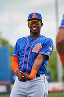 St. Lucie Mets left fielder John Mora (4) during warmups before a game against the Brevard County Manatees on April 17, 2016 at Tradition Field in Port St. Lucie, Florida.  Brevard County defeated St. Lucie 13-0.  (Mike Janes/Four Seam Images)