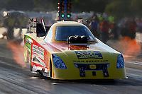 Aug. 16, 2013; Brainerd, MN, USA: NHRA funny car driver Bob Bode during qualifying for the Lucas Oil Nationals at Brainerd International Raceway. Mandatory Credit: Mark J. Rebilas-