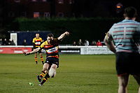 Tom Hodgson of Richmond Rugby scores the penalty during the English National League match between Richmond and Blackheath  at Richmond Athletic Ground, Richmond, United Kingdom on 4 January 2020. Photo by Carlton Myrie.