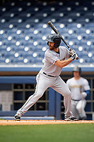 New Orleans Baby Cakes second baseman Steve Lombardozzi (4) at bat during a game against the Nashville Sounds on May 1, 2017 at First Tennessee Park in Nashville, Tennessee.  Nashville defeated New Orleans 6-4.  (Mike Janes/Four Seam Images)