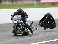 Aug 31, 2019; Clermont, IN, USA; NHRA nitro top fuel Harley Davidson motorcycle rider Dennis Fisher during qualifying for the US Nationals at Lucas Oil Raceway. Mandatory Credit: Mark J. Rebilas-USA TODAY Sports