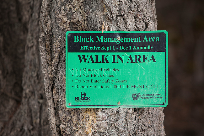 Walk In Area sign as designated by the Block Management program for open hunting lands in Montana
