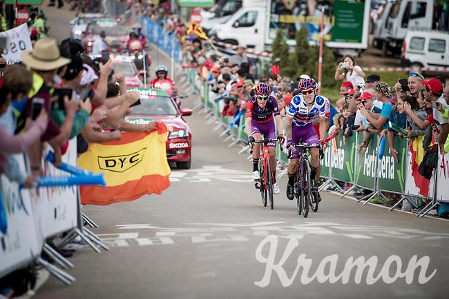 breakaway group consisting of Polka Dot Jersey / KOM leader Ángel Madrazo (ESP/Burgos-BH), Jetse Bol (NED/Burgos-BH) & José Herrada (ESP/Cofidis) in the race finale towards the finish (at almost 2000m alt.), fighting for the stage win<br /> <br /> Stage 5: L'Eliana to Observatorio Astrofísico de Javalambre (171km)<br /> La Vuelta 2019<br /> <br /> ©kramon