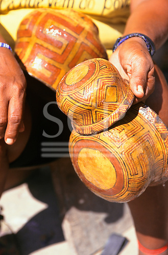 Koatinemo village, Brazil. Assurini Indian pots decorated with typical geometric design and glazed with vegetable resin.
