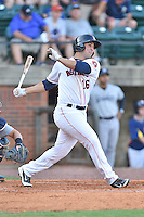 Greeneville Astros first baseman Justin Garcia (16) swings at a pitch during a game against the  Pulaski Yankees on July 11, 2015 in Greeneville, Tennessee. The Yankees defeated the Astros 9-3. (Tony Farlow/Four Seam Images)