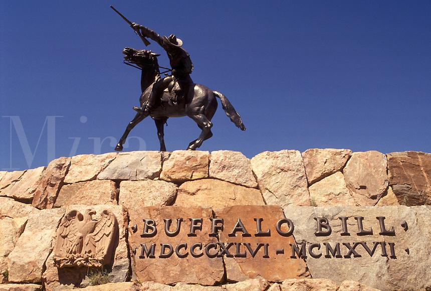 """Buffalo Bill, Cody, WY, Wyoming, Equestrian statue of """"""""Buffalo Bill"""""""" Cody in Wyoming."""