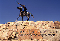 "Buffalo Bill, Cody, WY, Wyoming, Equestrian statue of """"Buffalo Bill"""" Cody in Wyoming."