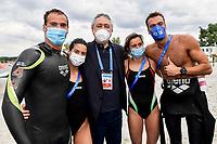 ACERENZA Domenico, GABBRIELLESCHI Giulia, BARELLI Paolo, Bruni Rachele, PALTRINIERI Gregorio ITA Gold Medal<br /> Team Event 5 km <br /> Open Water<br /> Budapest  - Hungary  15/5/2021<br /> Lupa Lake<br /> XXXV LEN European Aquatic Championships<br /> Photo Andrea Staccioli / Deepbluemedia / Insidefoto