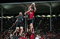 Sam Whitelock takes lineout ball during the 2021 Super Rugby Aotearoa final between the Crusaders and Chiefs at Orangetheory Stadium in Christchurch, New Zealand on Saturday, 8 May 2021. Photo: Joe Johnson / lintottphoto.co.nz