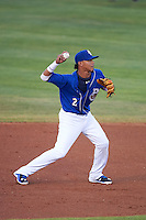 Biloxi Shuckers shortstop Orlando Arcia (2) throws to first during a game against the Birmingham Barons on May 23, 2015 at Joe Davis Stadium in Huntsville, Alabama.  Birmingham defeated Biloxi 2-0 as the Shuckers are playing all games on the road, or neutral sites like their former home in Huntsville, until the teams new stadium is completed in early June.  (Mike Janes/Four Seam Images)