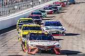 #95: Matt DiBenedetto, Leavine Family Racing, Toyota Camry Procore, #20: Erik Jones, Joe Gibbs Racing, Toyota Camry STANLEY