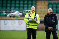 Pictured: (L-R) Sargent James Bailey and Inspector Gavin Clifton in action with the sky mantis drone at Caerphilly RFC, Wales, UK. Thursday 13 June 2019<br /> Re: Gwent Police Force has held a live demonstration of their brand new, purpose built police drones, on the grounds of Caerphilly RFC, Wales, UK.<br /> The Force now has 25 specially trained and qualified officers who are also drone pilots giving 24/7 coverage. <br /> All officers have passed a Civil Aviation Authority (CAA) accredited training and are qualified remote pilots.
