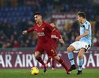 Football, Serie A: AS Roma - S.S. Lazio, Olympic stadium, Rome, January 26, 2020. <br /> Roma's Lorenzo Pellegrini (l) in action with Lazio's Lukas Leiva (r) during the Italian Serie A football match between Roma and Lazio at Olympic stadium in Rome, on January,  26, 2020. <br /> UPDATE IMAGES PRESS/Isabella Bonotto