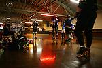 February 19, 2008; Santa Cruz, CA, USA; Female roller skaters during Santa Cruz Rollergirls practice in Santa Cruz, CA. Photo by: Phillip Carter