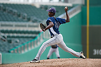 GCL Rays relief pitcher Jhoanbert Cedeno (20) delivers a pitch during a game against the GCL Red Sox on August 1, 2018 at JetBlue Park in Fort Myers, Florida.  GCL Red Sox defeated GCL Rays 5-1 in a rain shortened game.  (Mike Janes/Four Seam Images)