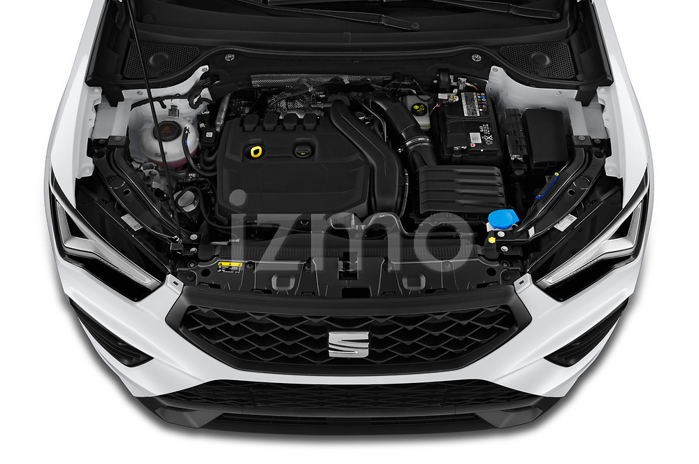 Car Stock 2020 Seat Ateca FR 5 Door SUV Engine  high angle detail view