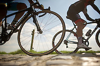over the cobbles at Carrefour de l'Arbre<br /> <br /> 2014 Paris - Roubaix reconnaissance