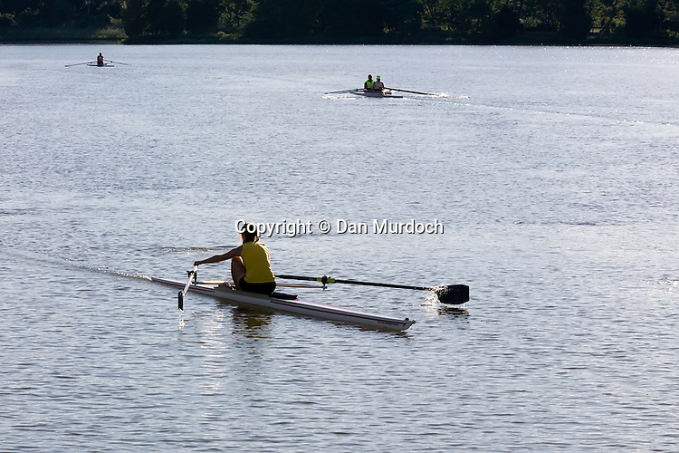 rowing on a river