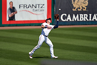 Minnesota Twins outfielder Brent Rooker (50) catches a fly ball during a Major League Spring Training game against the Pittsburgh Pirates on March 16, 2021 at Hammond Stadium in Fort Myers, Florida.  (Mike Janes/Four Seam Images)