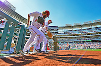 24 September 2012: Washington Nationals outfielder Jayson Werth takes to the field with first baseman Adam LaRoche to start a game against the Milwaukee Brewers at Nationals Park in Washington, DC. The Nationals defeated the Brewers 12-2 in the final game of their 4-game series, splitting the series at two. Mandatory Credit: Ed Wolfstein Photo