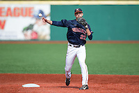 Daniel Pinero (22) of the Virginia Cavaliers makes a throw to first base during infield practice prior to the game against the Hartford Hawks at The Ripken Experience on February 27, 2015 in Myrtle Beach, South Carolina.  The Cavaliers defeated the Hawks 5-1.  (Brian Westerholt/Four Seam Images)