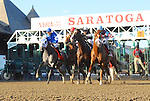 Texas Red (no. 3), ridden by Kent Desormeaux and trained by Keith Desormeaux, wins the 52nd running of the grade 2 Jim Dandy Stakes for three year olds on August 1, 2015 at Saratoga Race Course in Saratoga Springs, New York. (Bob Mayberger/Eclipse Sportswire)